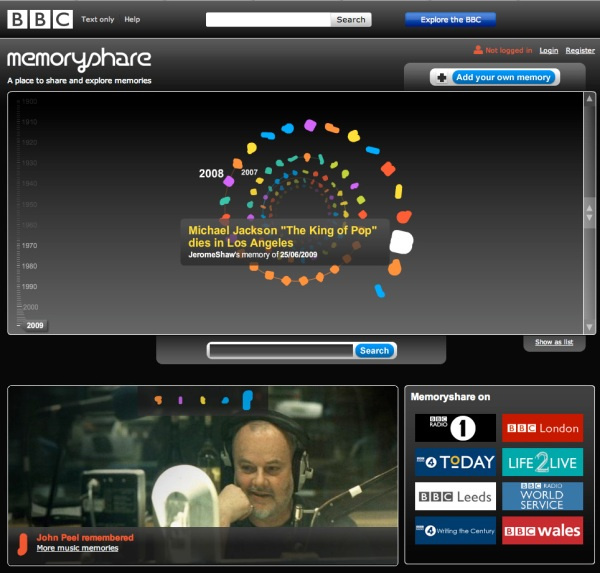 picture of BBC memory site front page