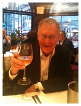 Ray enjoying a glass of wine at his leaving do