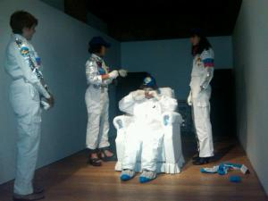 An image showing people dressed as astronauts