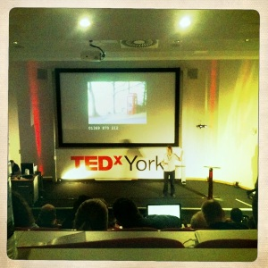 a photo showing the stage of TEDx york