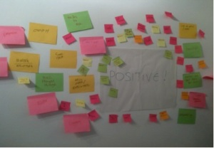 post-it notes surrounding the word - positive