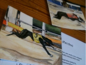 A water colour painting of racing dogs